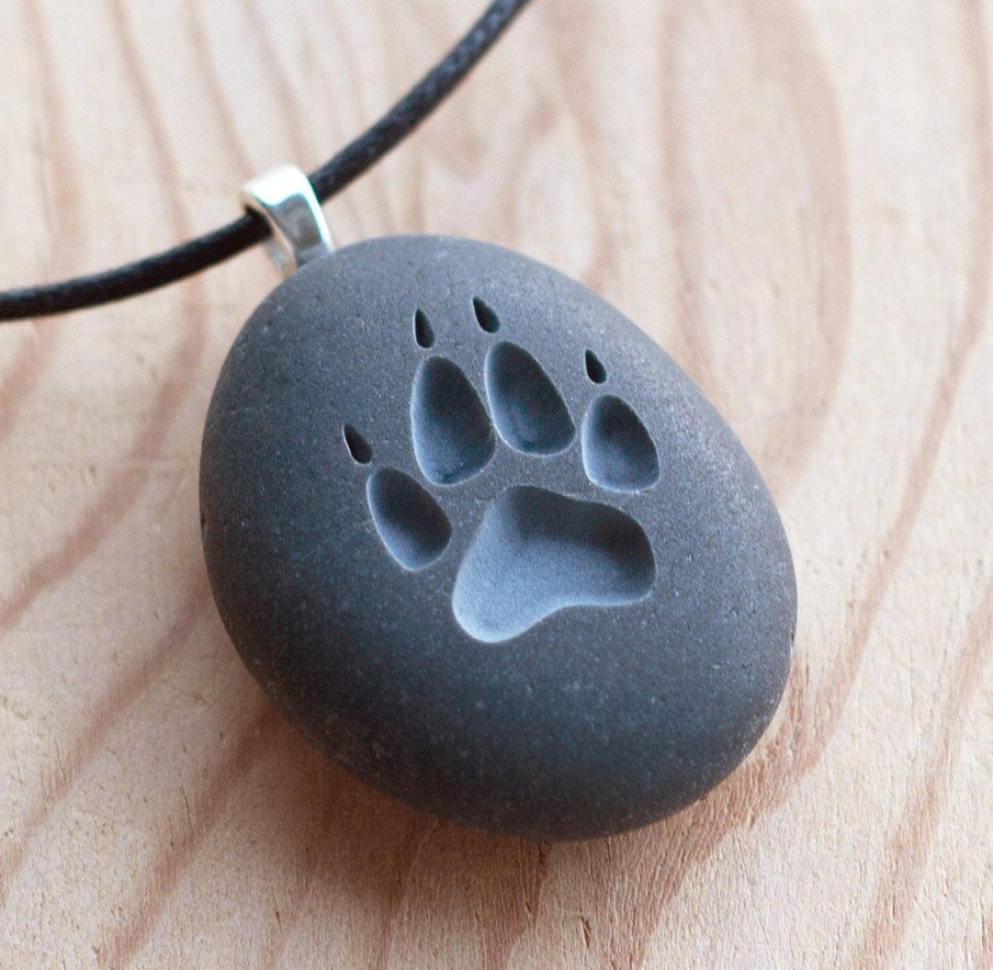 Engraved Wolf Paw necklace