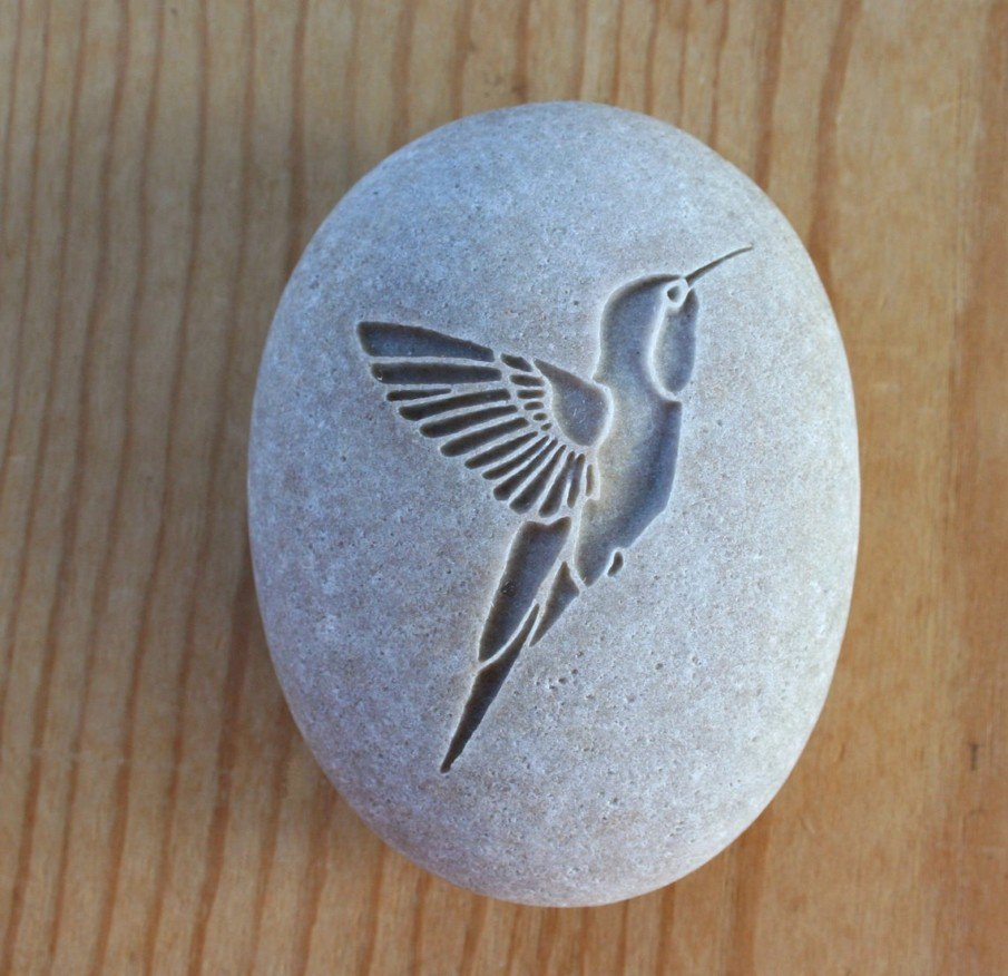 River rock talisman idea - an engraved Hummingbird