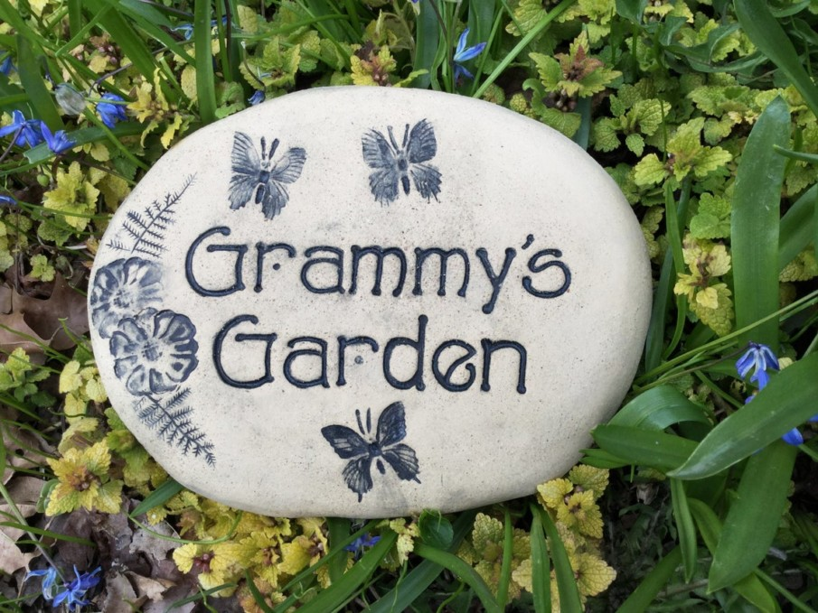 Grammy's garden engraved rock
