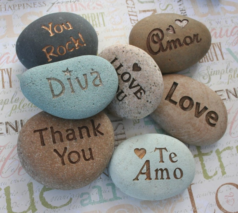 Engraved River Rock Paperweight Ideas - a perfect home decor idea