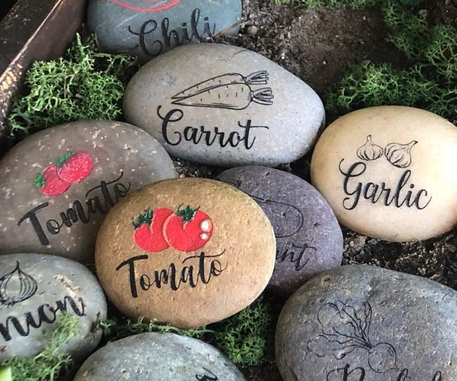 Engraved Garden Marker Stones
