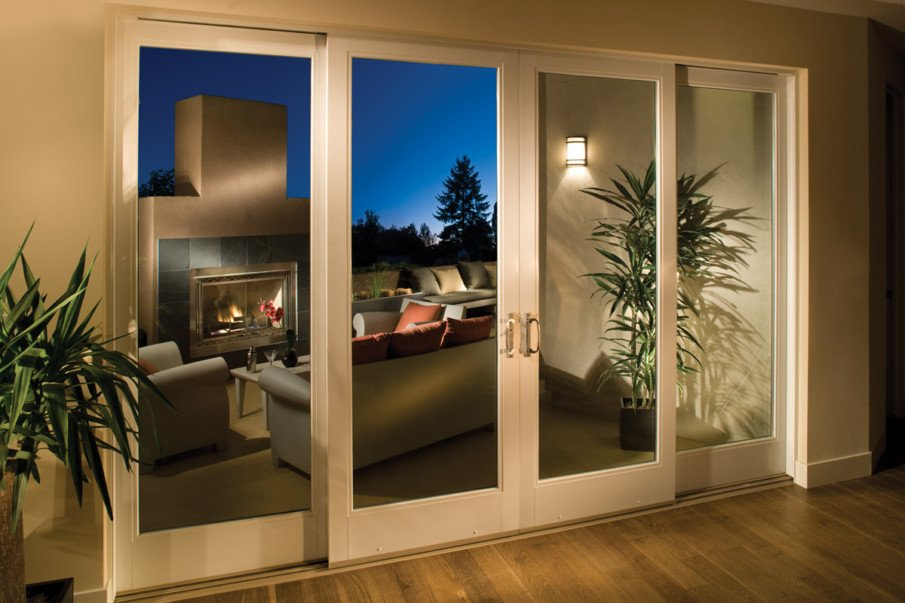 A four-panel sliding patio door