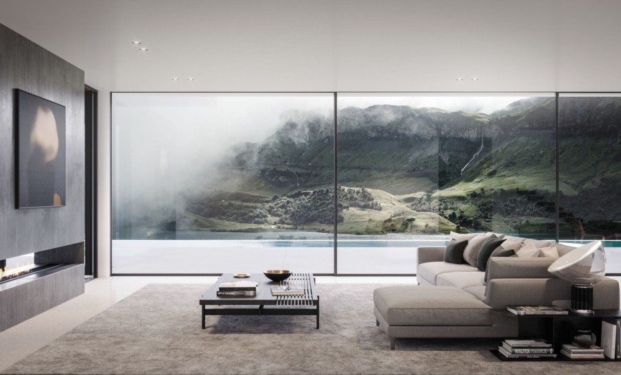 A near frameless sliding door that spans over the entire length and height of the wall