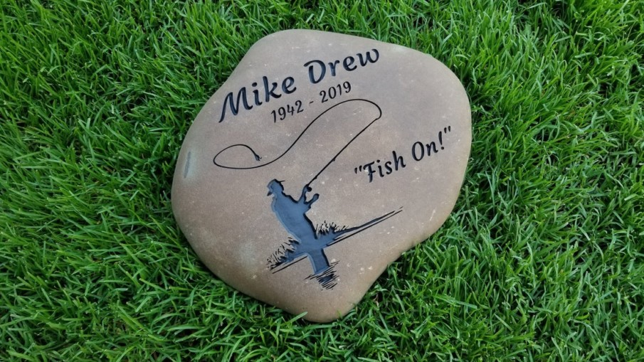Memorial garden stone engraved with the name of your loved one