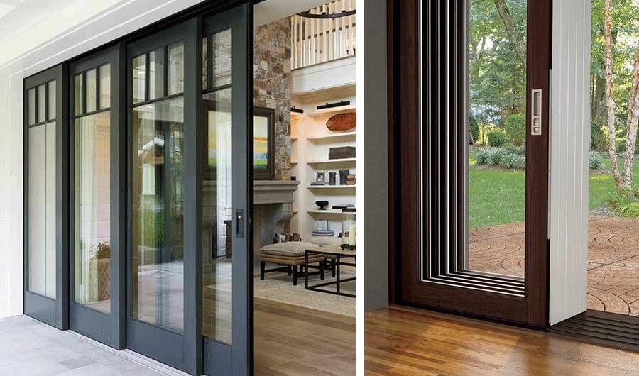 Wooden frame stacking patio door