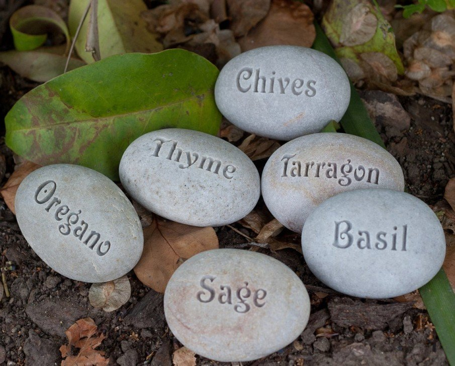 Contemporary Engraved Garden Marker Stones