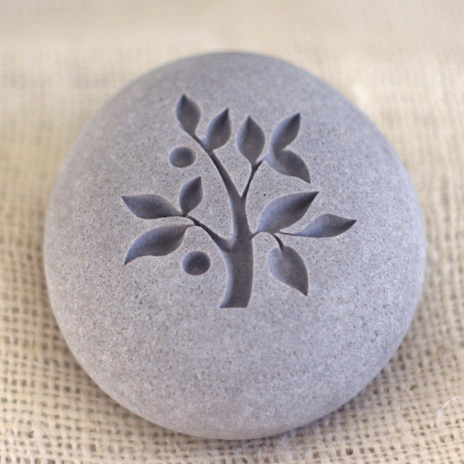 Awesome river rock engraving of Tree of Life