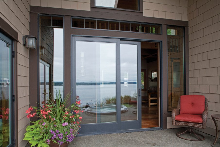 An example of a sliding patio door - simple 2-panel type door