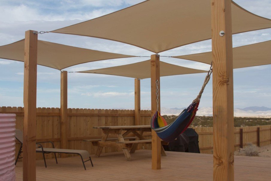 Shade solutions for a deck - four square canopies