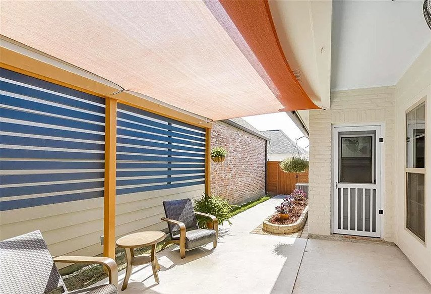 Shade solutions for a narrow covered patio
