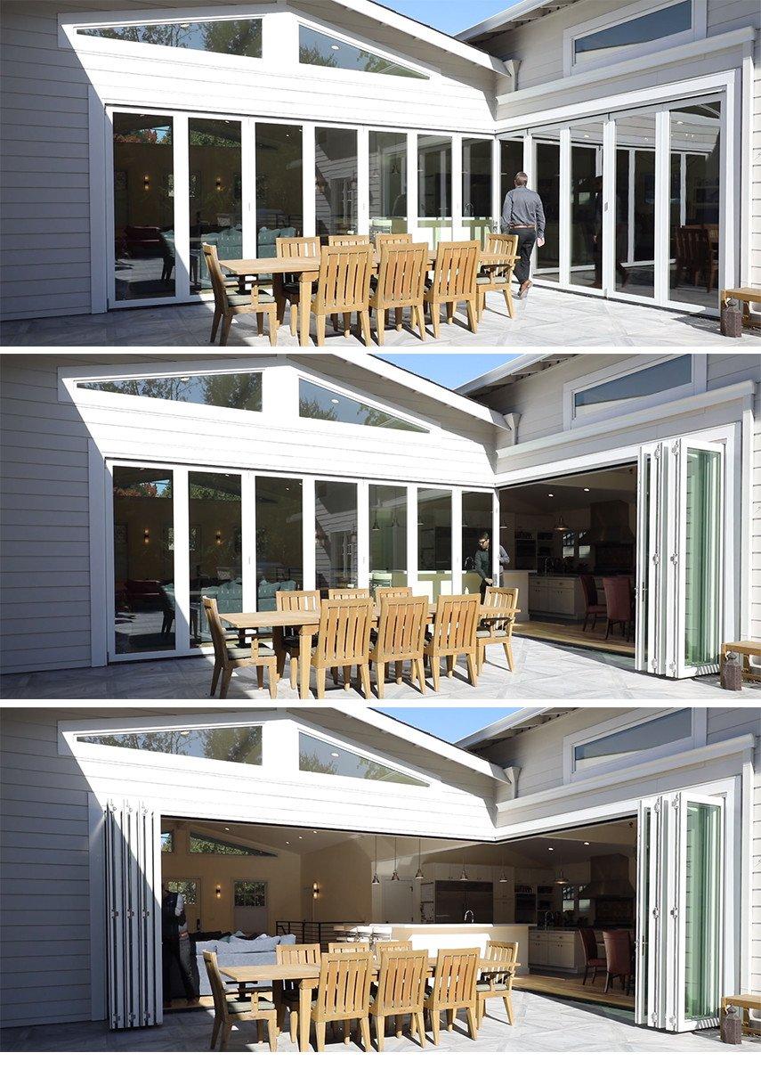 Zero corner bi-fold doors by AGMillworks