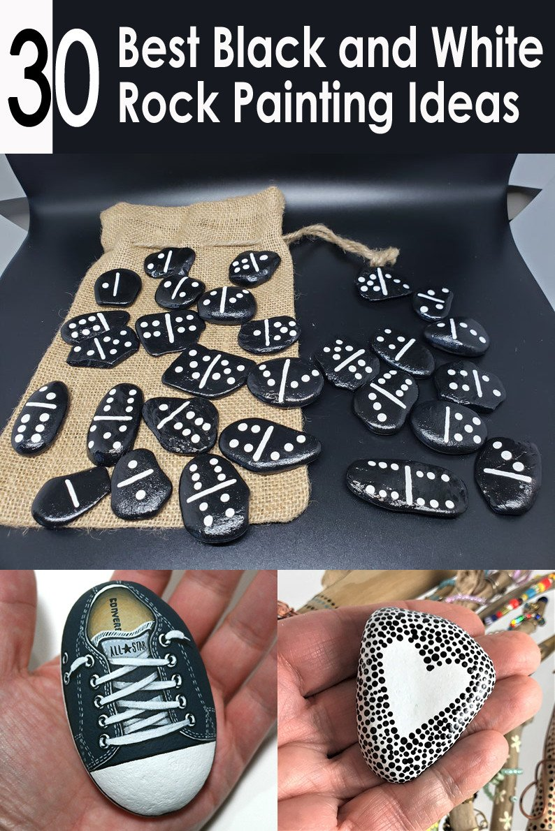 30 Best Black and White Painted Rocks - Ideas for Painting Pebbles
