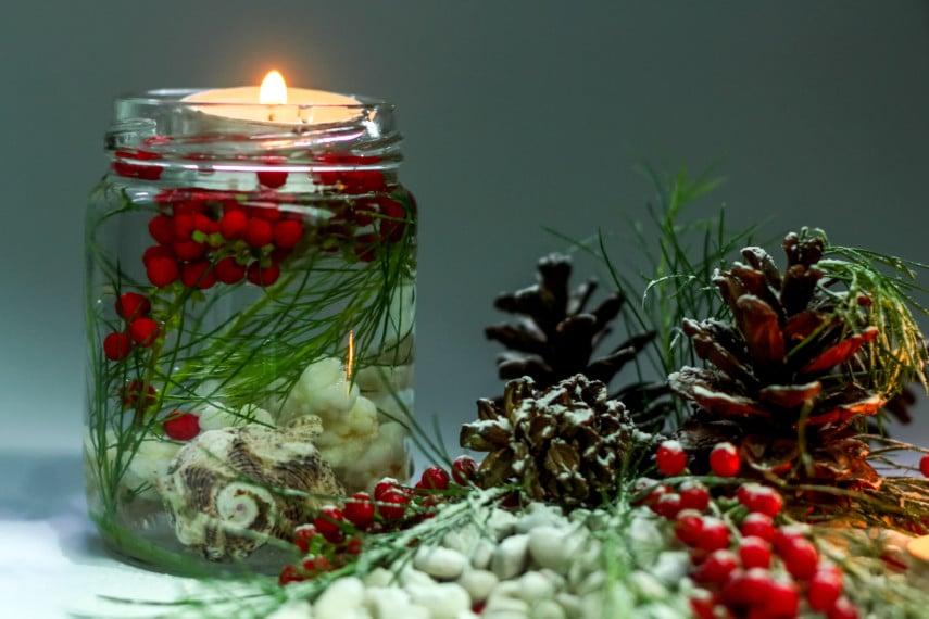 Festive decorating idea with mason jar vase and floating candle