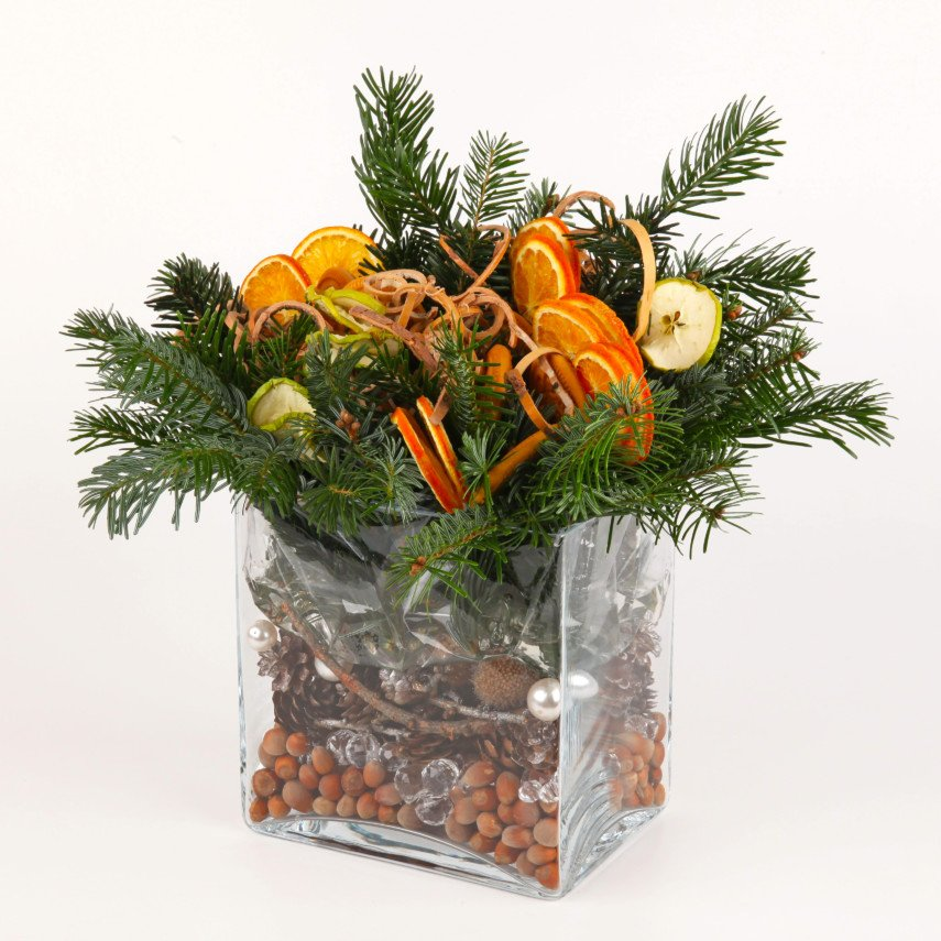 Glass rectangular vase idea for Christmas with pine boughs