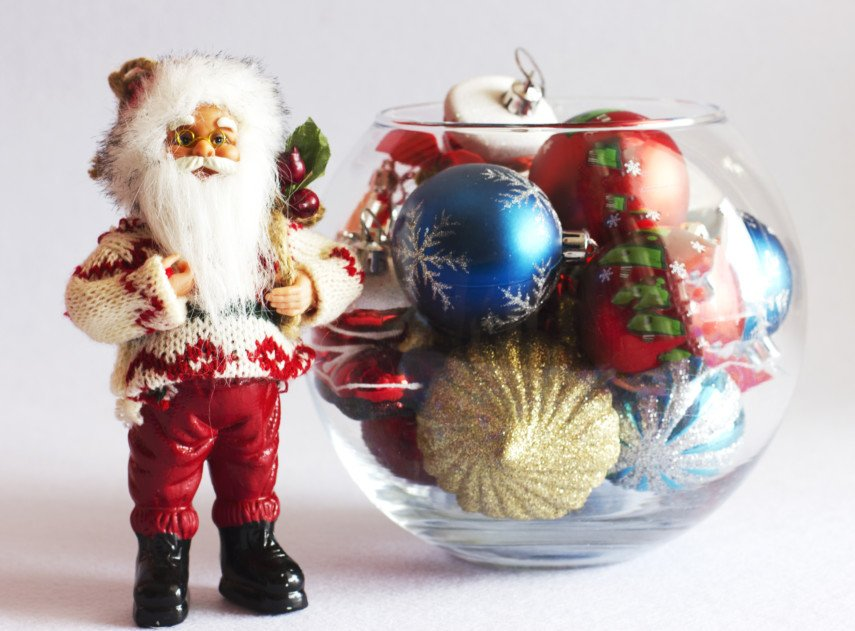Pair a glass bowl with a Santa figurine
