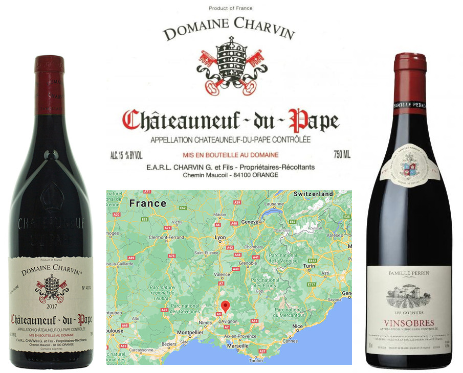 Top seasonal red wines for autumn. A Chateauneuf-du-Pape blend from the Rhone Valley in the south of France.