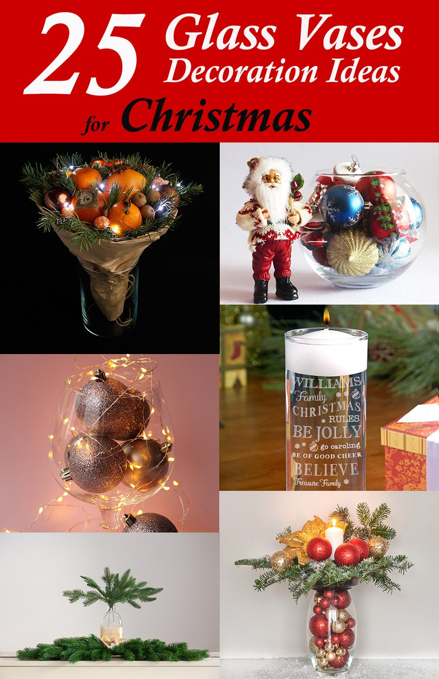 Glass vases decoration ideas for Christmas