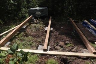 Bunkie foundation is being leveled out