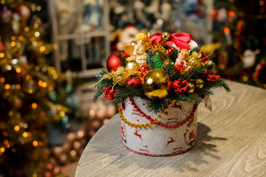 Christmas centerpiece using a cheerful assortment of ornaments and glass beads