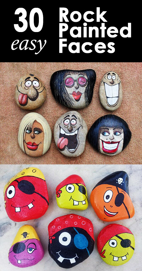 Easy rock painted faces for kids and adults