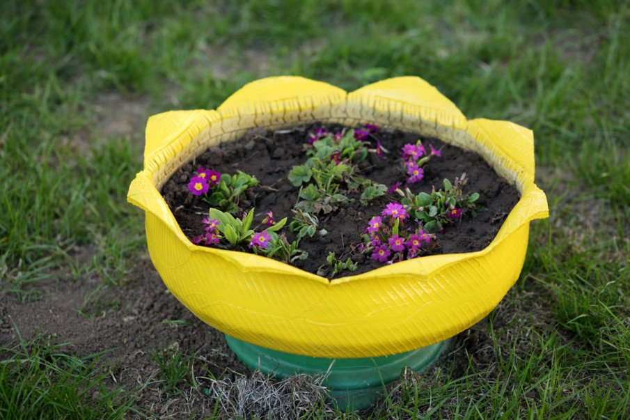 single inverted tire flower pot painted in bright yellow, with petal edges
