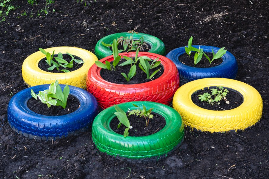 colorful tire planters arranged like a flower with young plants growing inside