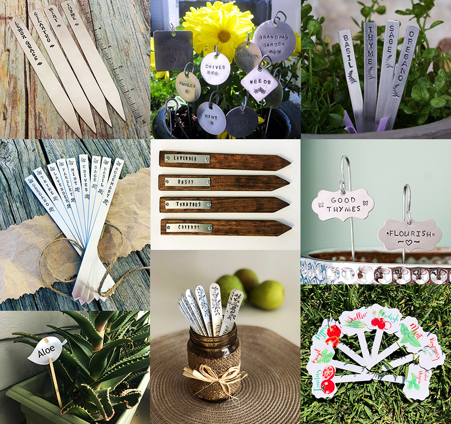 Collage of aluminum garden markers