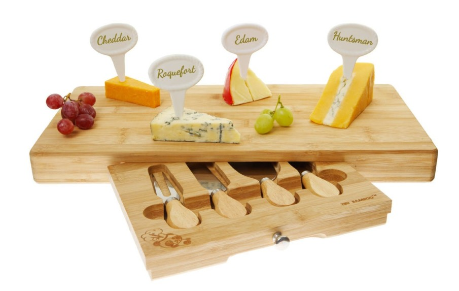 Bamboo cheese board set with a set of 4 porcelain cheese markers