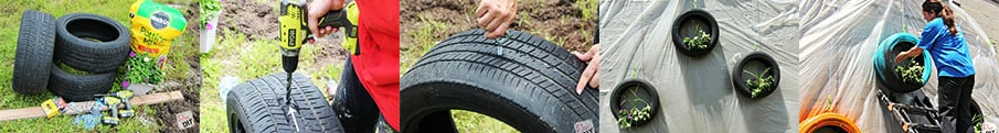 Build a hanging tire planter