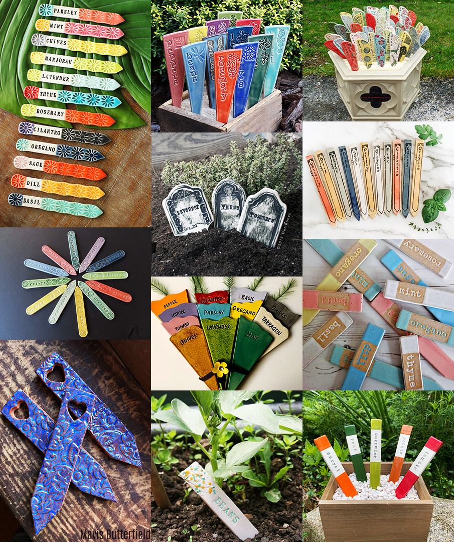Collage of ceramic plant markers