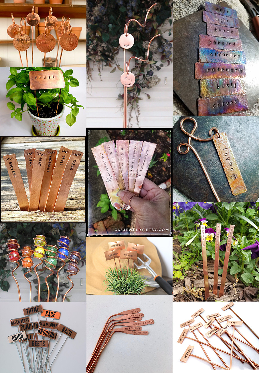 Collage of copper garden markers