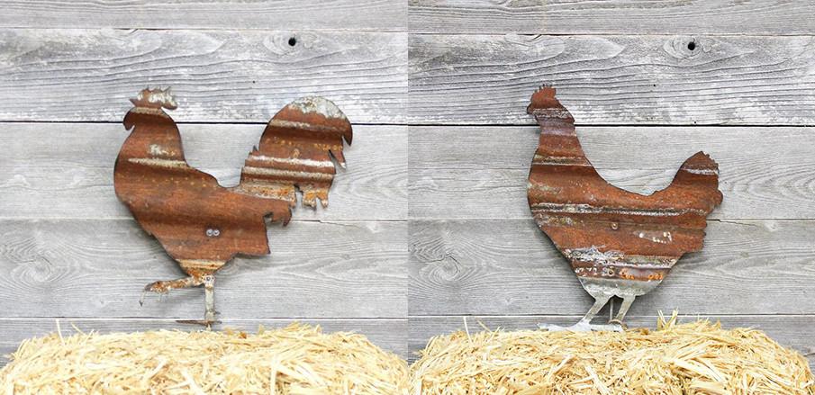 Rusty metal chicken garden art