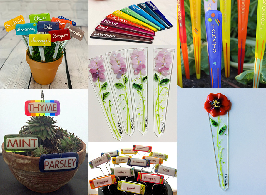 Collage of glass garden markers