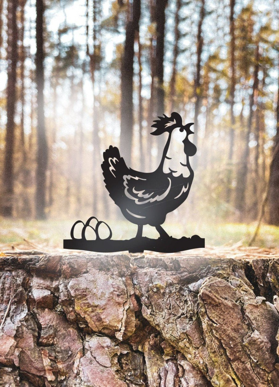Metal yard art rooster with eggs