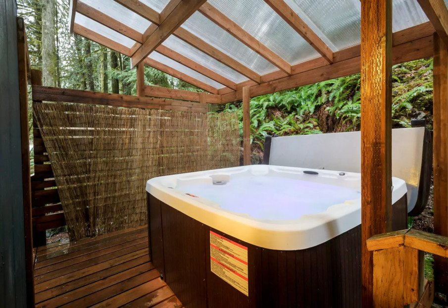 Hot tub privacy idea with a combo living screen and slat fence