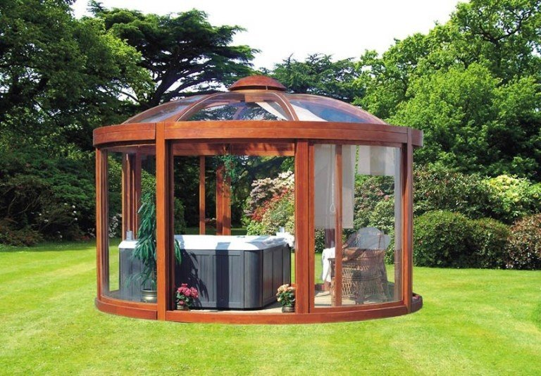 Hot tub enclosures idea - gazebo with retractable blinds