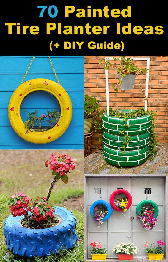 Painted Tire Pots