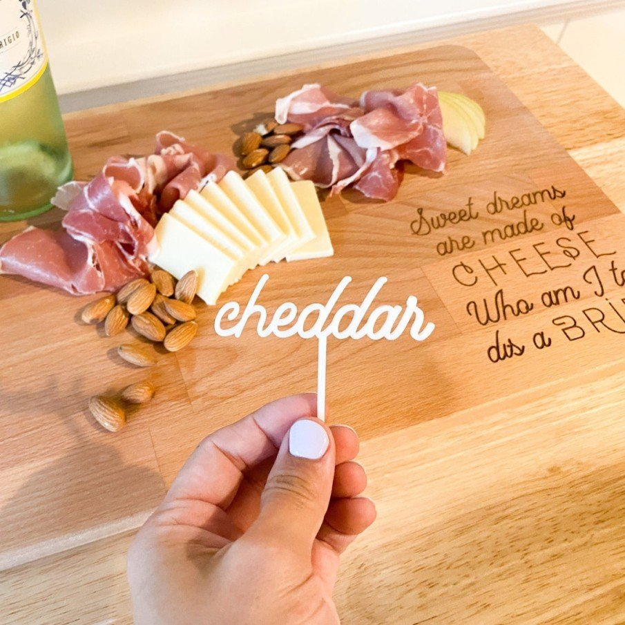 Acrylic cheese label and charcuterie board