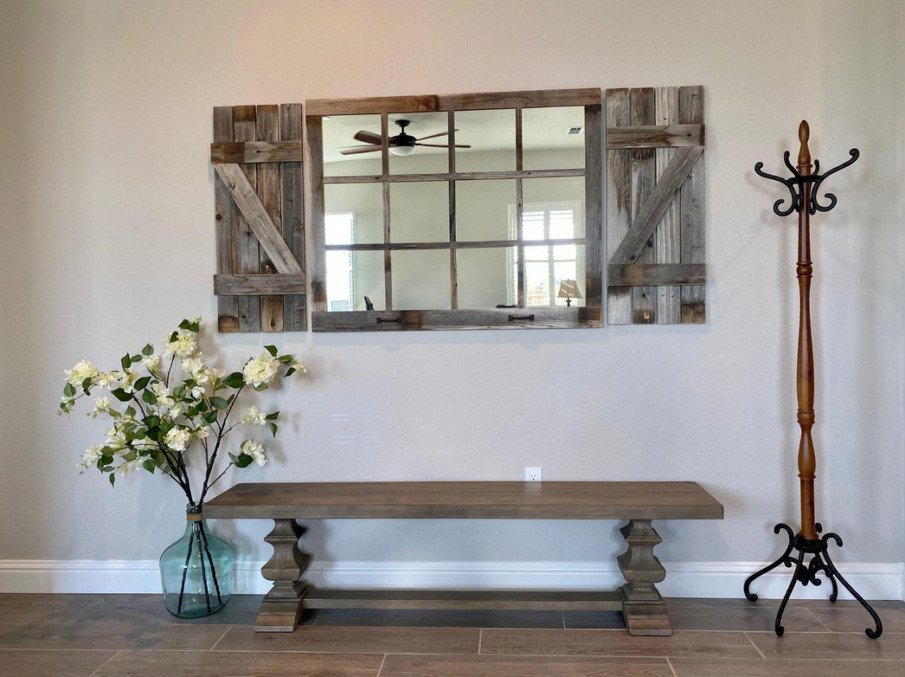 Beautiful Rustic Windowpane wooden mirror with shutters in foyer