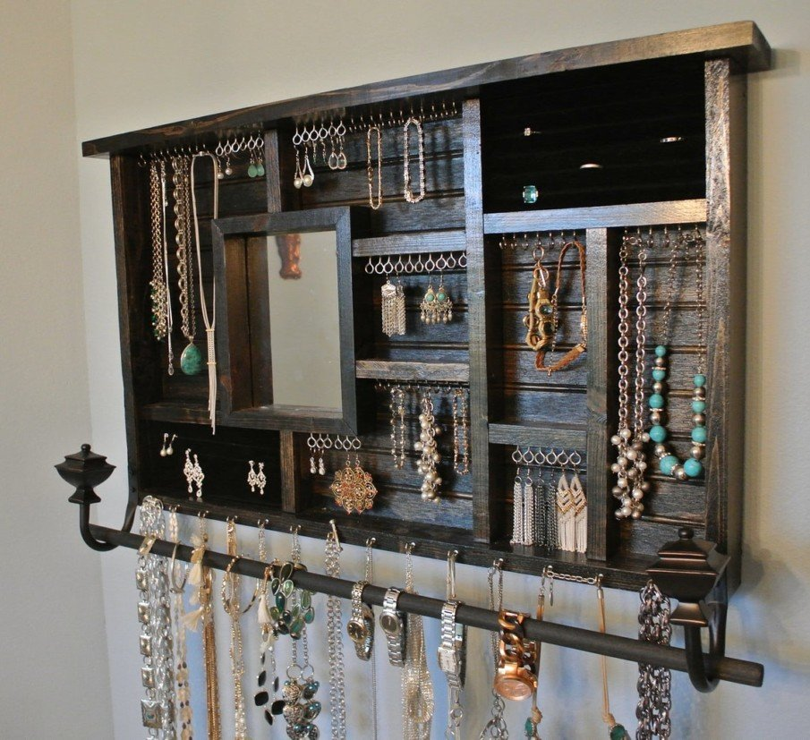 Large wooden jewelry organizer with mirror