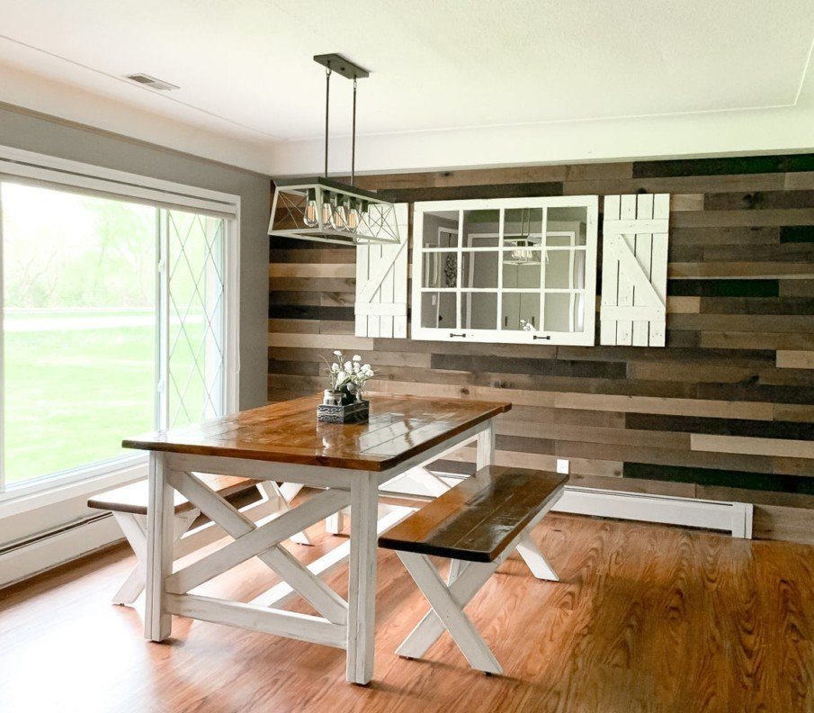 Rustic Modern Windowpane wooden mirror with shutters in dining room
