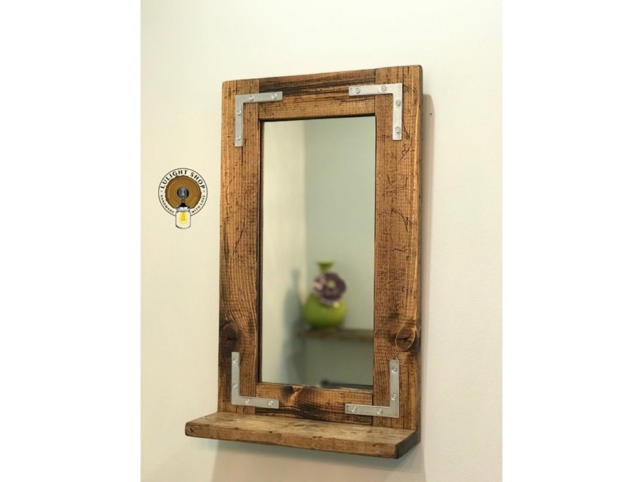 Handmade pine rustic mirror with a shelf