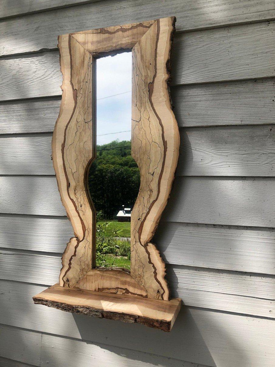 Vertical design rustic live edge mirror