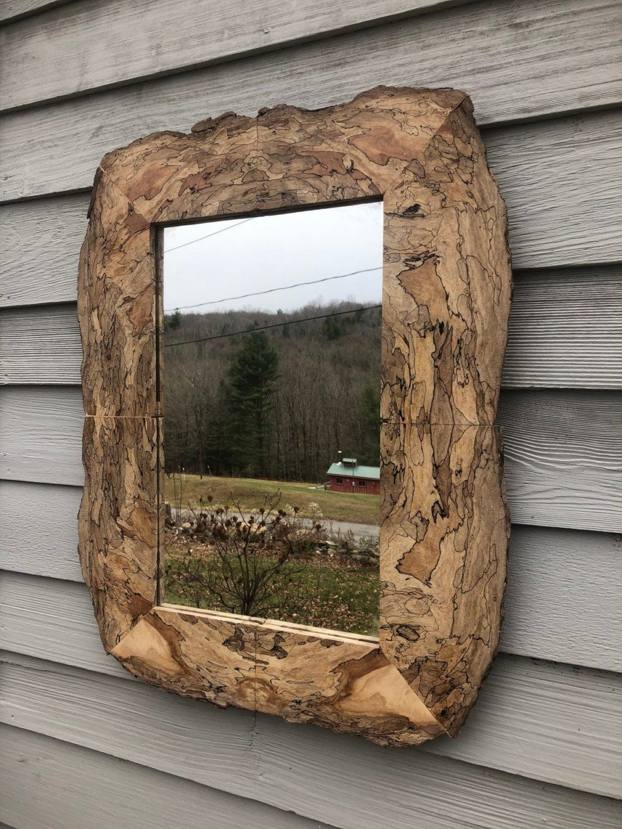 Amazing rustic mirror with live edge spalted maple frame