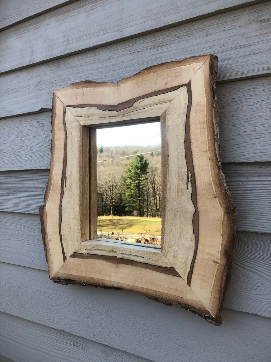 Rustic mirror in live edge wood frame