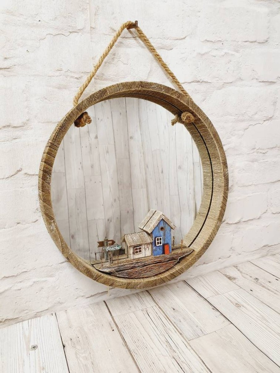 Round wooden rustic mirror with carved design