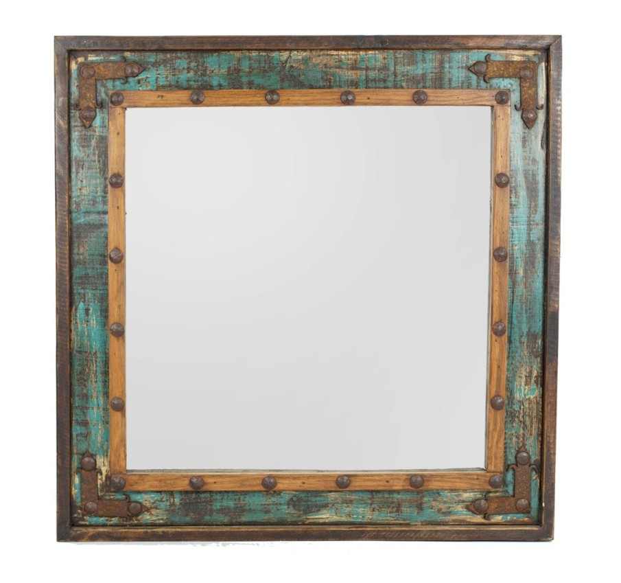 Colorful rustic frame with metal hardware accents