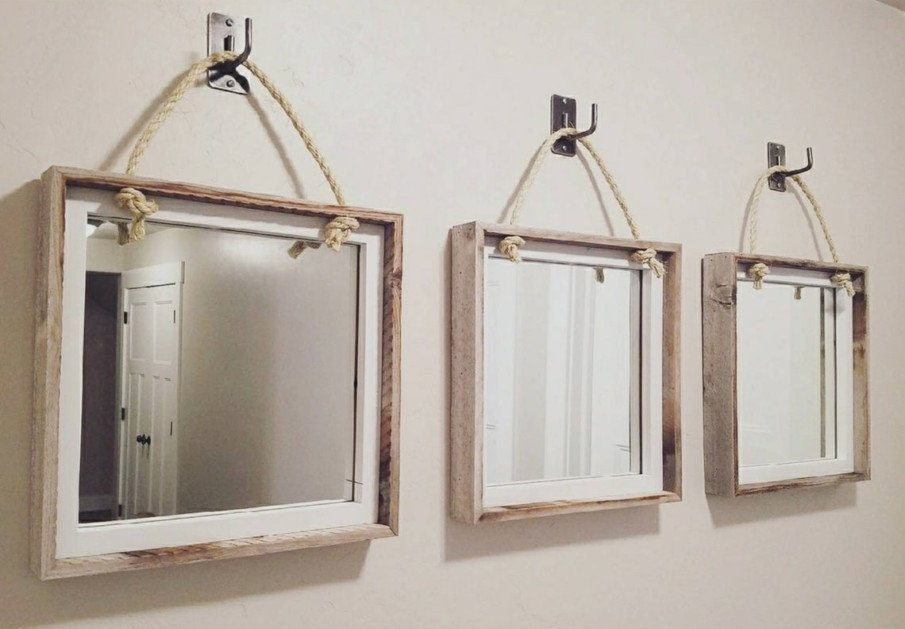 Set of 3 rustic mirrors in whitewash wooden frames hung on rope