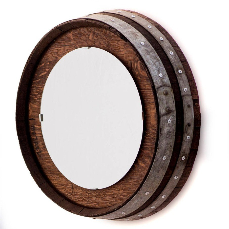 Wine barrel rustic mirror frame