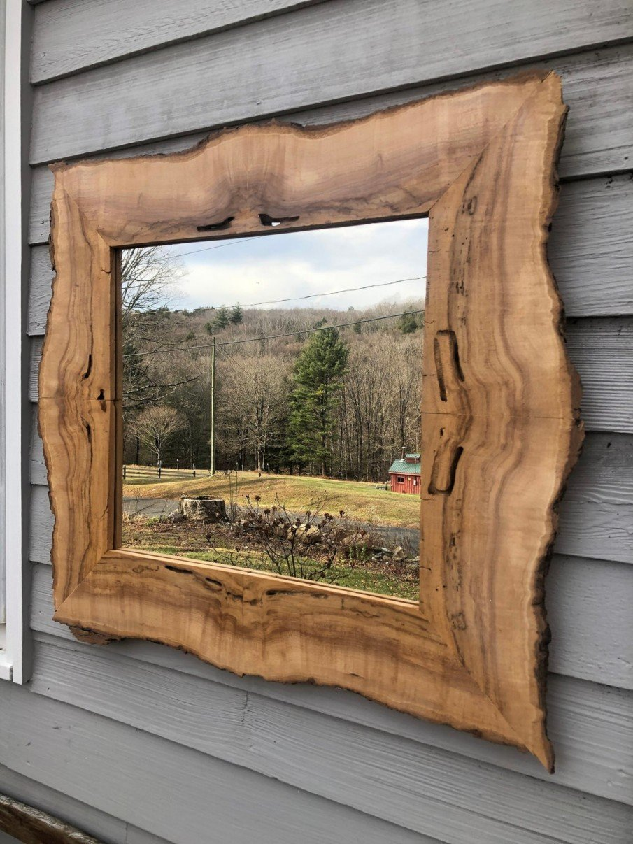 Square rustic live edge spalted maple mirror